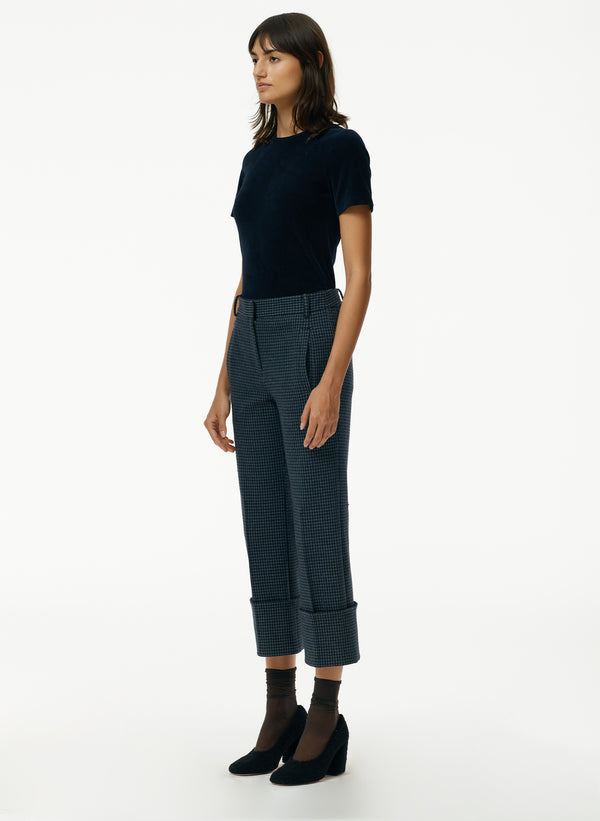 Camille Check High Cuffed Hem Cropped Pants