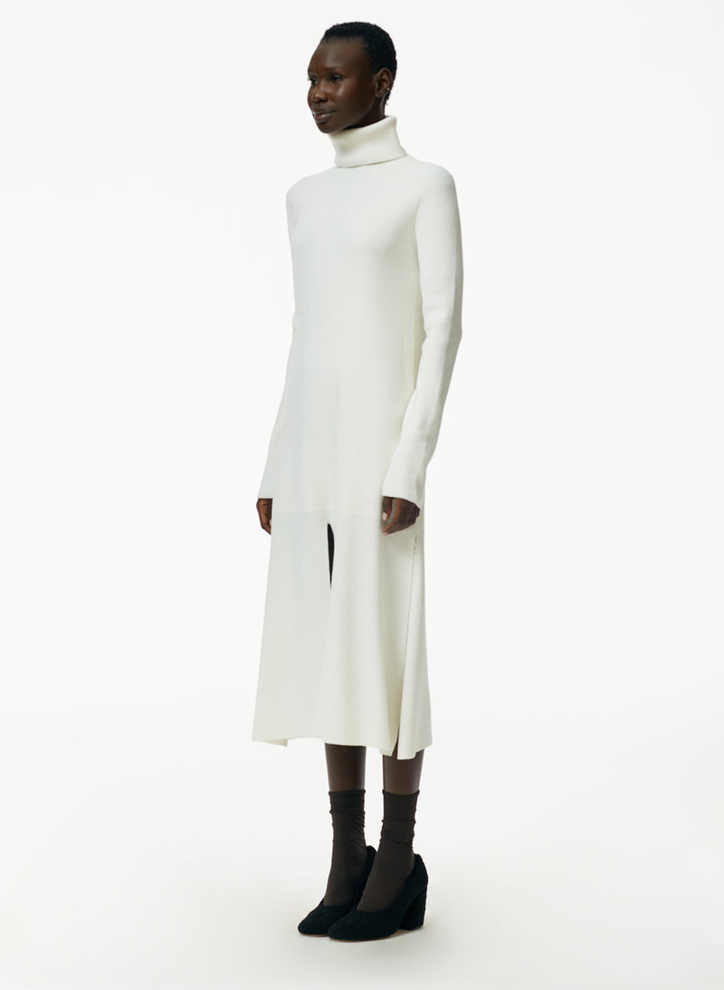 Flo Wool Blend Ribbed Flap Hem Turtleneck Sweater Dress Flo Wool Blend Ribbed Flap Hem Turtleneck Sweater Dress