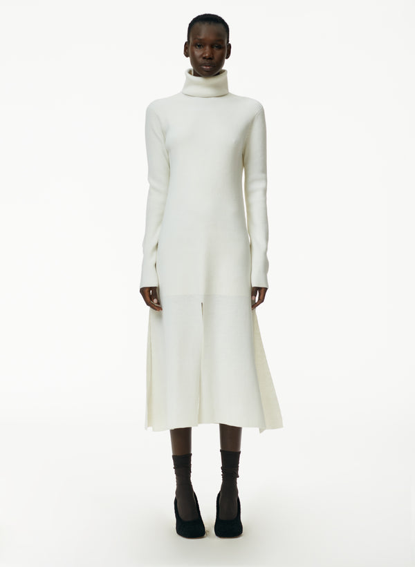 Flo Wool Blend Ribbed Flap Hem Turtleneck Sweater Dress