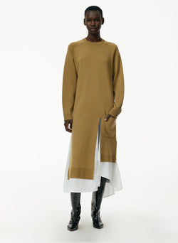Mele Mockrib Wool Long Layered Long Dickey Sweater Dress Mele Mockrib Wool Long Layered Long Dickey Sweater Dress