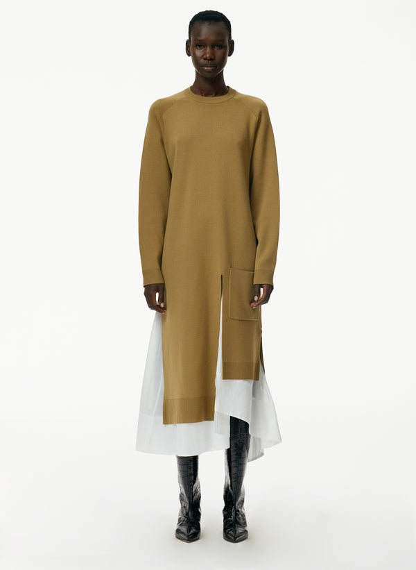 Mele Mockrib Wool Long Layered Long Dickey Sweater Dress