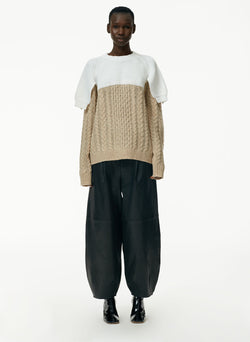 Patch Cable Wool Shrunken Top Layered Sweater Patch Cable Wool Shrunken Top Layered Sweater