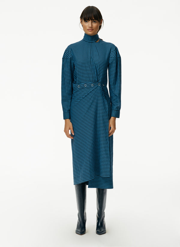 Pascale Gingham Asymmetric Flap Snap Dress