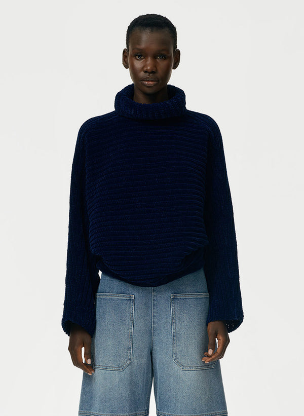 Recycled Velour Blouson Cropped Pullover Sweater