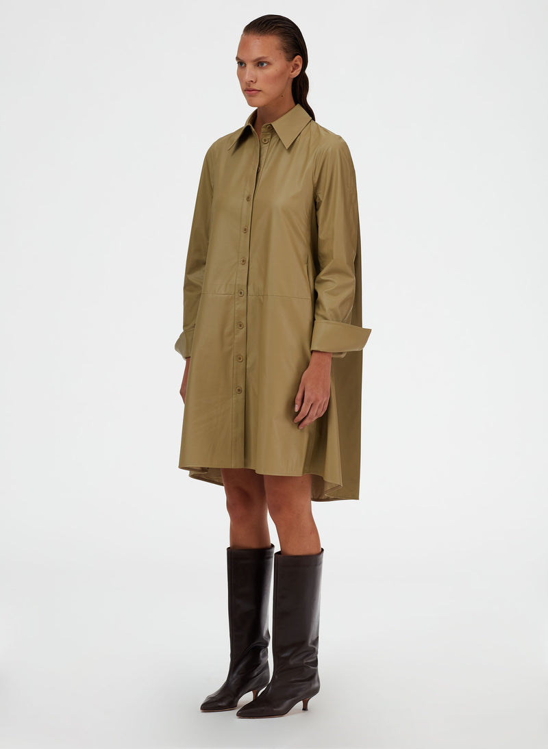 Tissue Faux Leather Shirt Dress Tissue Faux Leather Shirt Dress