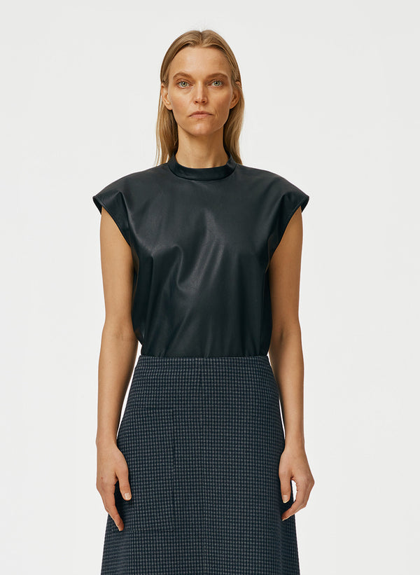 Tissue Faux Leather Mockneck Sleeveless Top