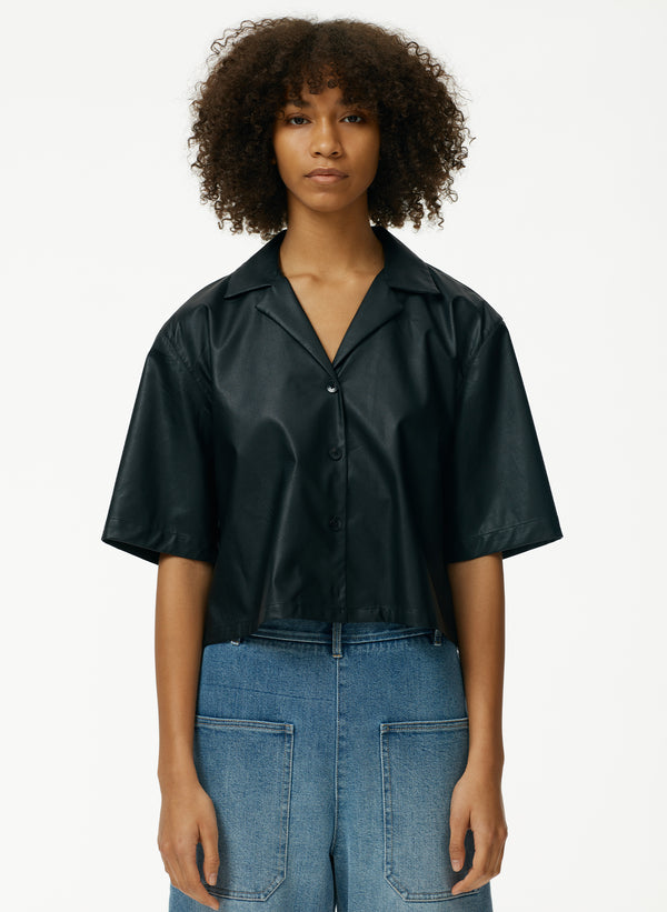 Tissue Faux Leather Short Sleeve Cropped Top