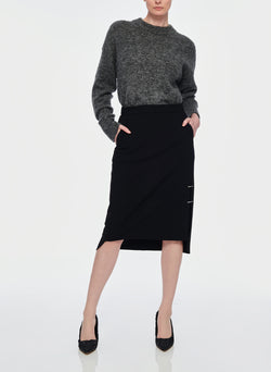 Anson Stretch Asymmetrical Trouser Skirt Black-4
