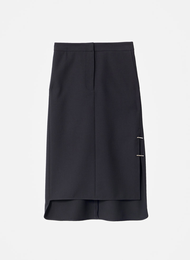 Anson Stretch Asymmetrical Trouser Skirt Black-8