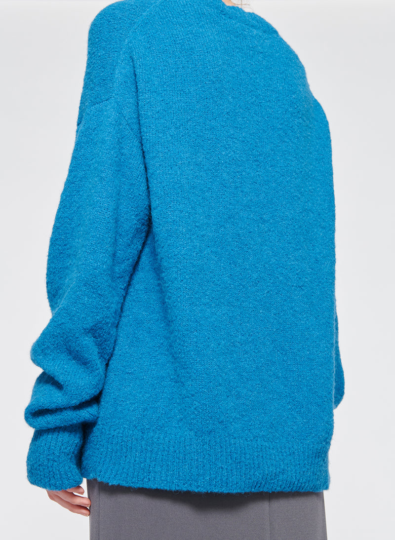 Airy Alpaca V-Neck Pullover Blue-15