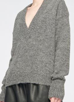 Airy Alpaca V-Neck Pullover Heather Grey-12