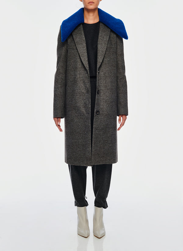티비 체크 랩코트 Tibi Menswear Check Labcoat With Removable Faux Fur Collar,Grey/Blue Multi