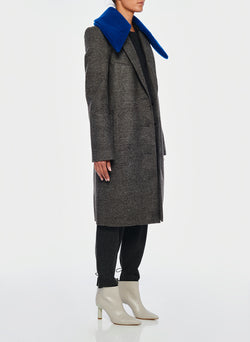 Menswear Check Labcoat With Removable Faux Fur Collar Grey/Blue Multi-2