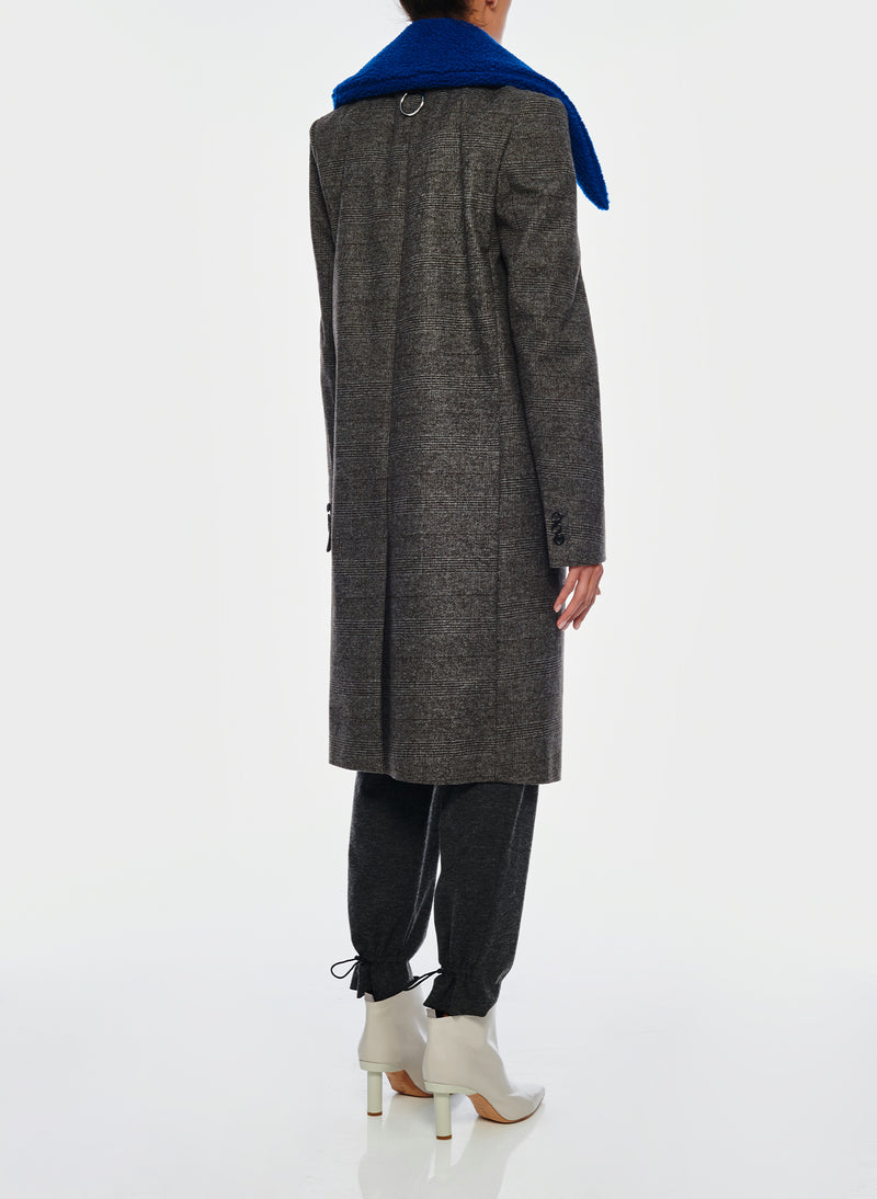 Menswear Check Labcoat With Removable Faux Fur Collar Grey/Blue Multi-3