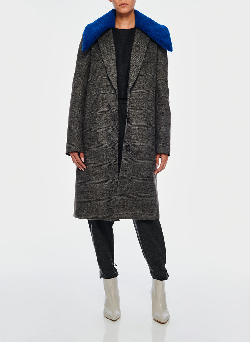 Menswear Check Labcoat With Removable Faux Fur Collar Grey/Blue Multi-4