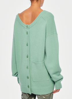 Cashmere Two-Way Cardigan Pullover Celadon-3