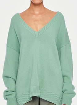 Cashmere Two-Way Cardigan Pullover Celadon-4