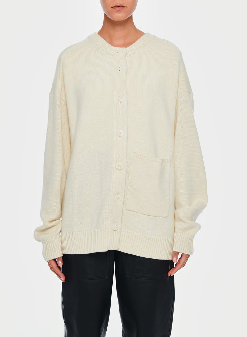 Cashmere Two-Way Cardigan Pullover Ivory-9