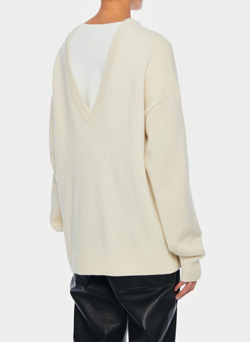 Cashmere Two-Way Cardigan Pullover Ivory-11