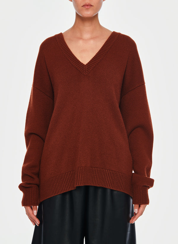 티비 가디건 풀오버 Tibi Cashmere Two-Way Cardigan Pullover,Russet