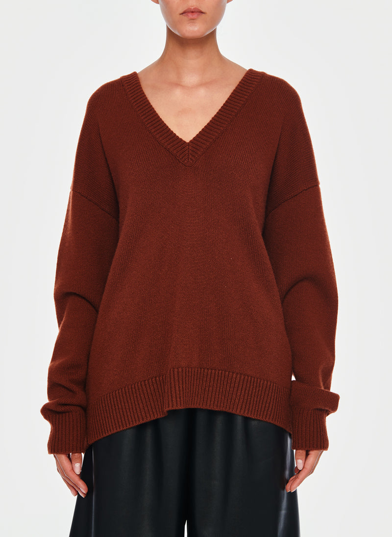 Cashmere Two-Way Cardigan Pullover Russet-13