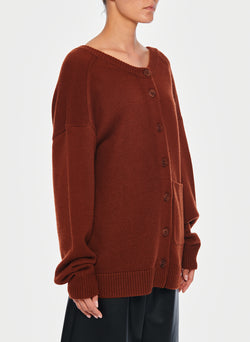Cashmere Two-Way Cardigan Pullover Russet-14
