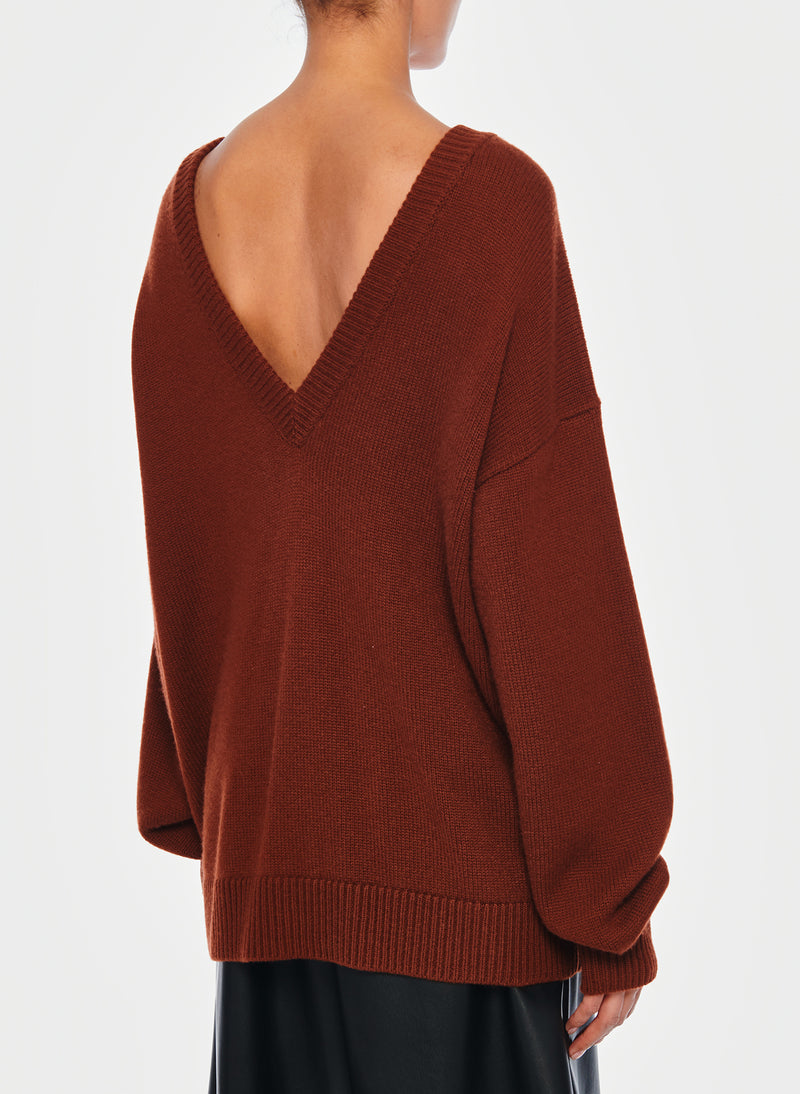 Cashmere Two-Way Cardigan Pullover Russet-15