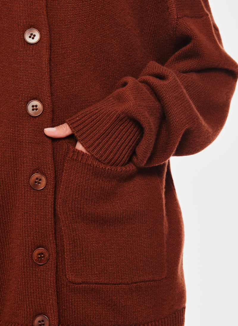 Cashmere Two-Way Cardigan Pullover Russet-20