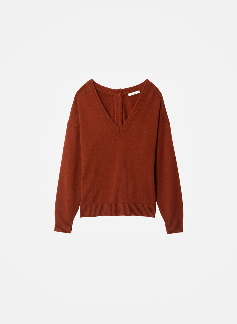 Cashmere Two-Way Cardigan Pullover Russet-24