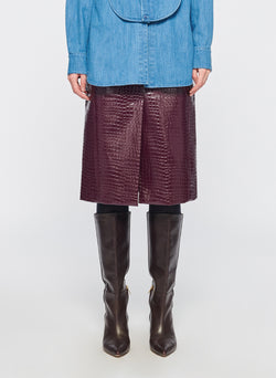 Croc Embossed Patent Trouser Skirt Burnt Raspberry-1