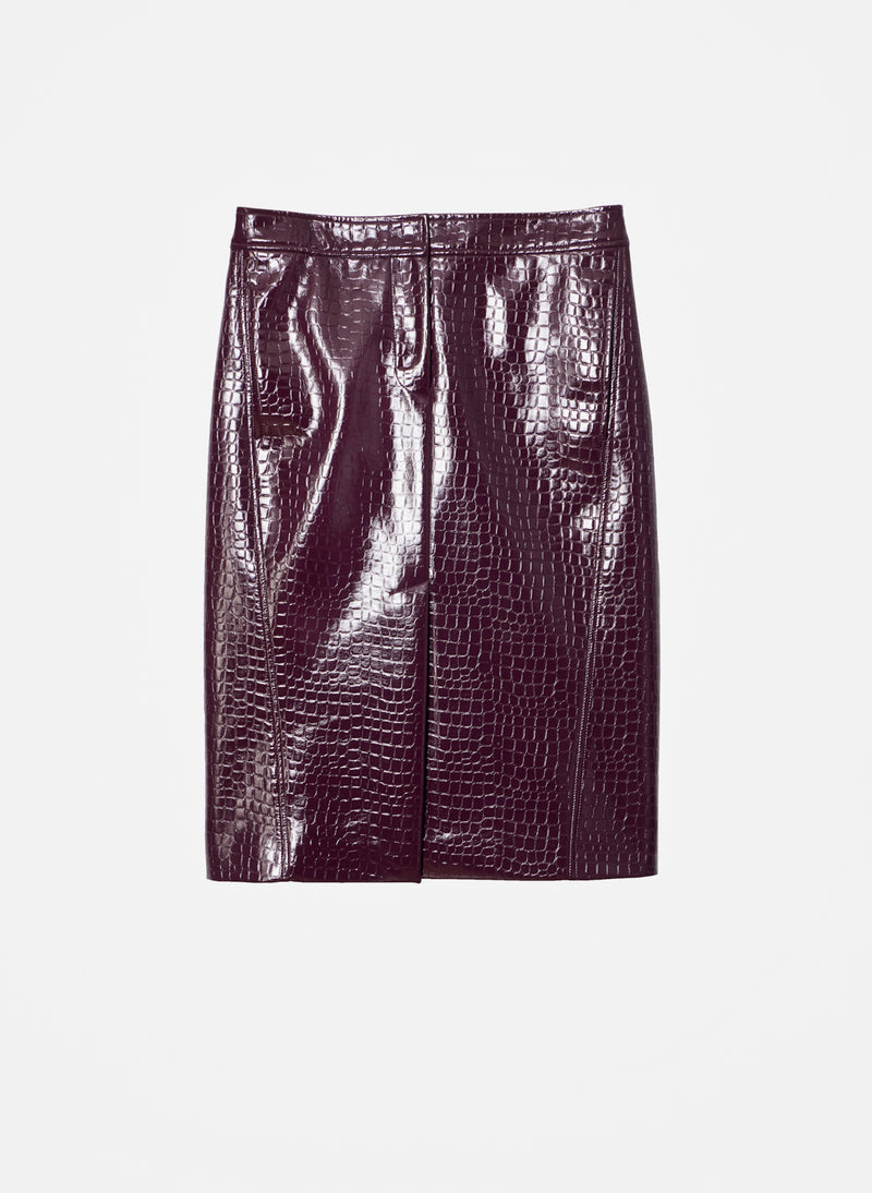 Croc Embossed Patent Trouser Skirt Burnt Raspberry-8