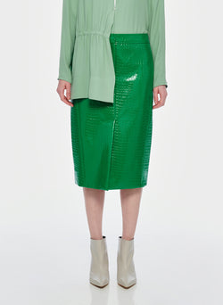 Croc Embossed Patent Trouser Skirt Jade-9