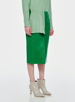 Croc Embossed Patent Trouser Skirt Jade-10
