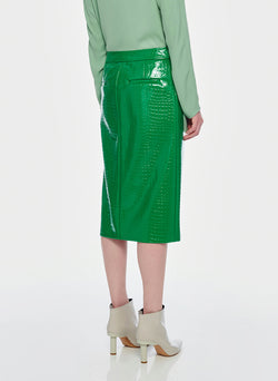 Croc Embossed Patent Trouser Skirt Jade-11