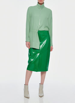Croc Embossed Patent Trouser Skirt Jade-12