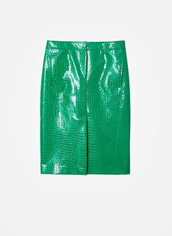 Croc Embossed Patent Trouser Skirt Jade-16
