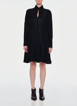 Dot Jacquard Dress Black-1