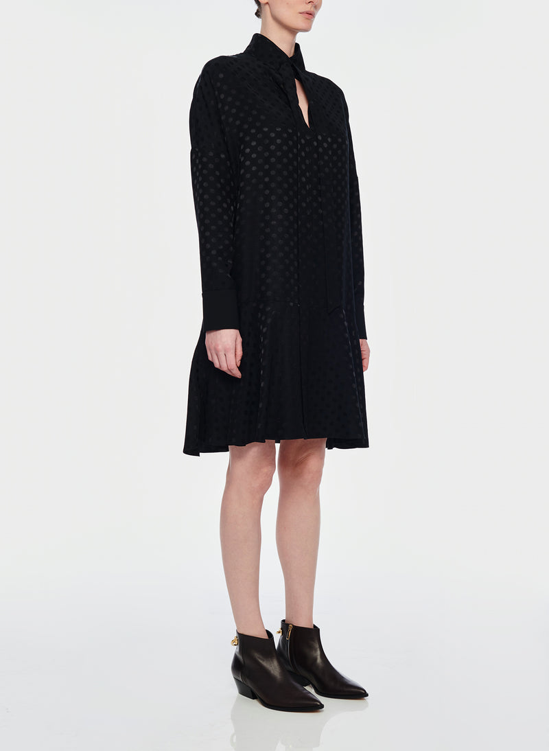 Dot Jacquard Dress Black-2