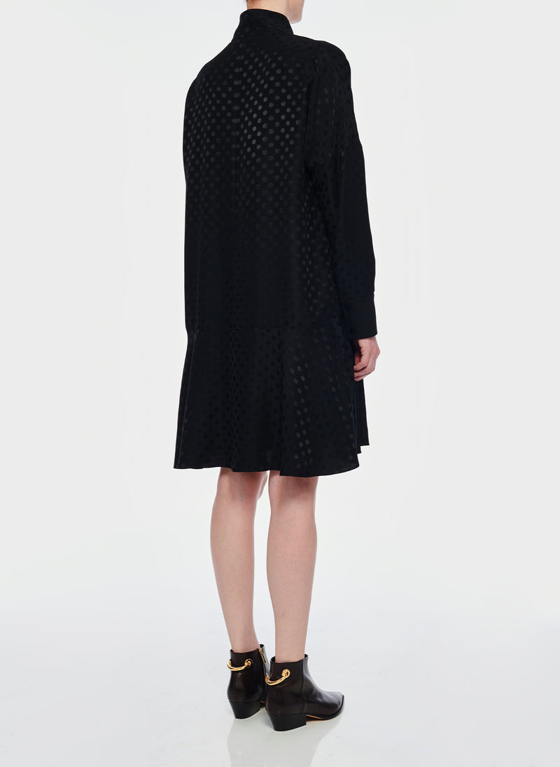 Dot Jacquard Dress Black-3