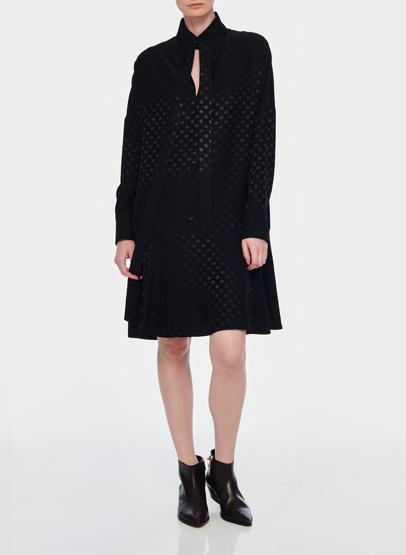 Dot Jacquard Dress Black-4