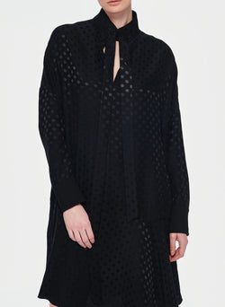 Dot Jacquard Dress Black-5