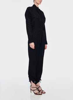 Dot Jacquard Pleated Sculpted Pant Black-7