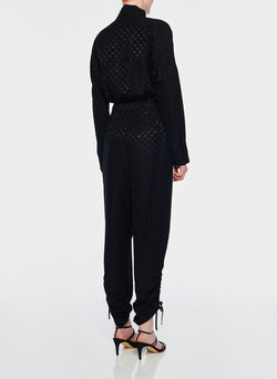 Dot Jacquard Pleated Sculpted Pant Black-8