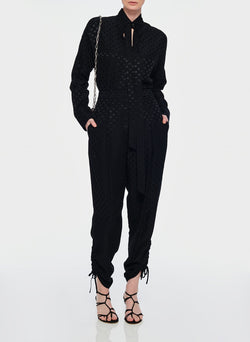 Dot Jacquard Pleated Sculpted Pant Black-9