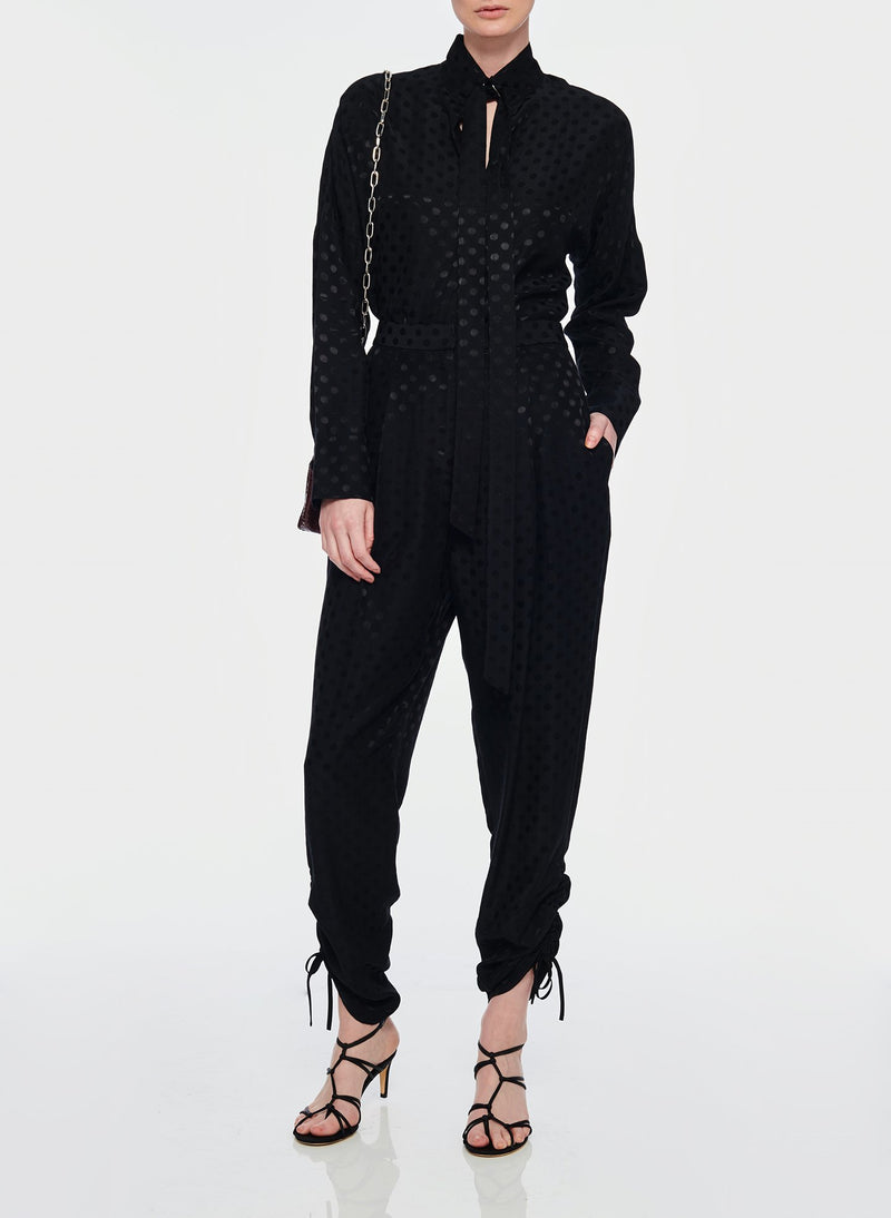 Dot Jacquard Pleated Sculpted Pant Black-10