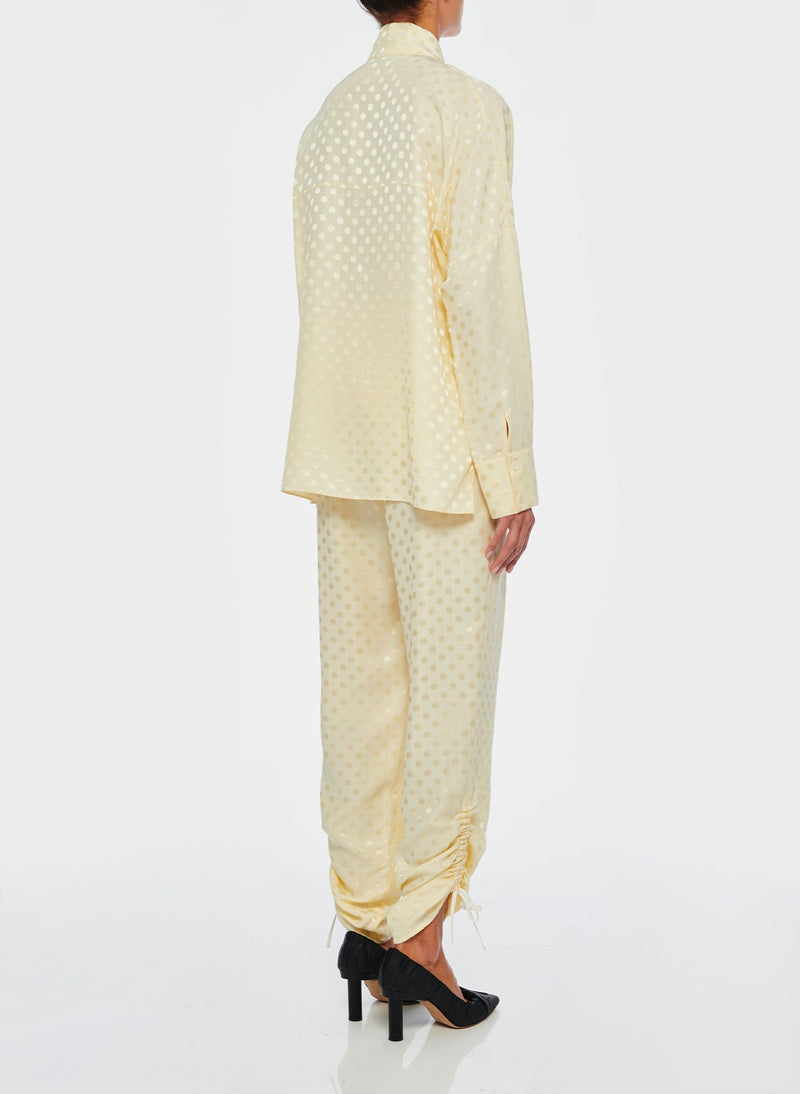 Dot Jacquard Pleated Sculpted Pant Butter-3