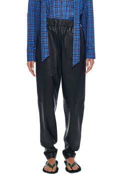 Faux Leather Pull On Pant Black-1
