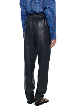 Faux Leather Pull On Pant Black-3
