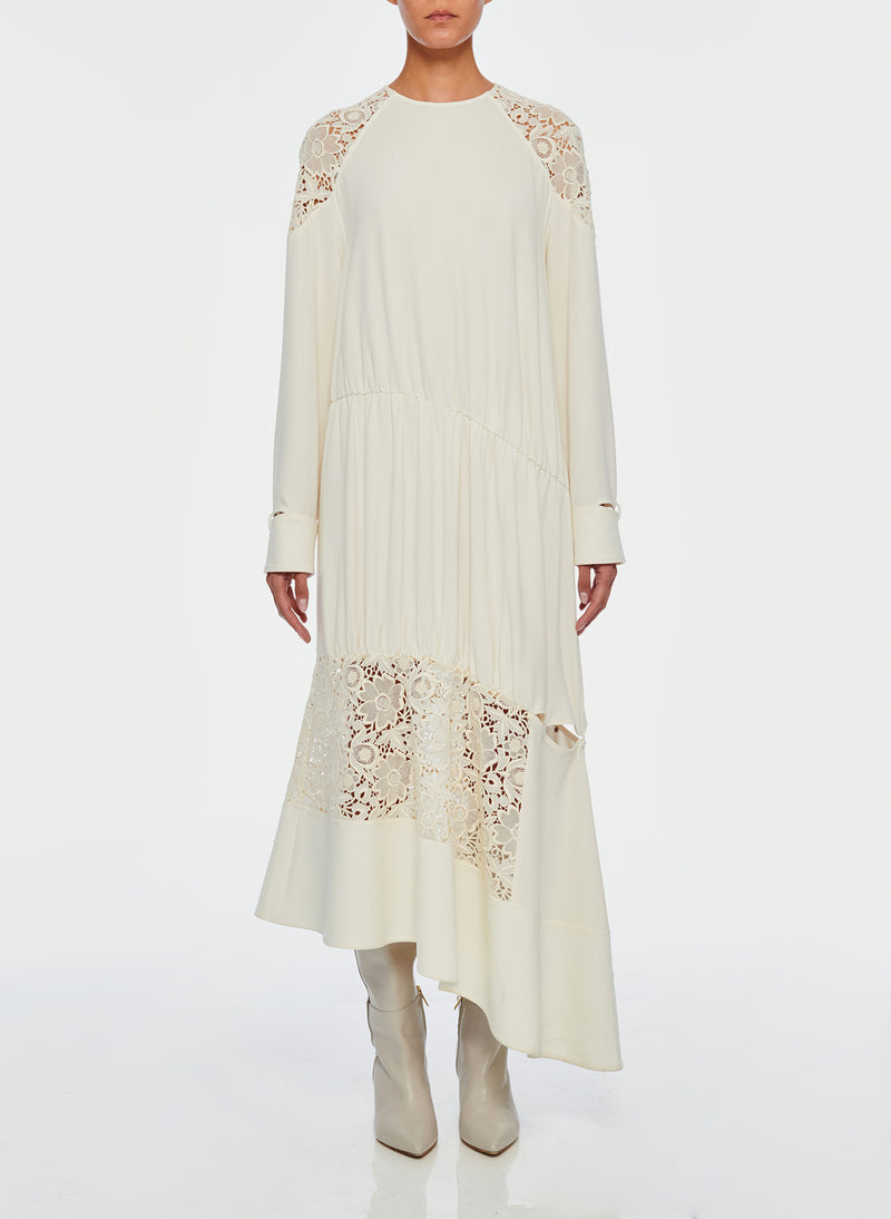 Guipure Lace Long Sleeve Dress Ivory-9