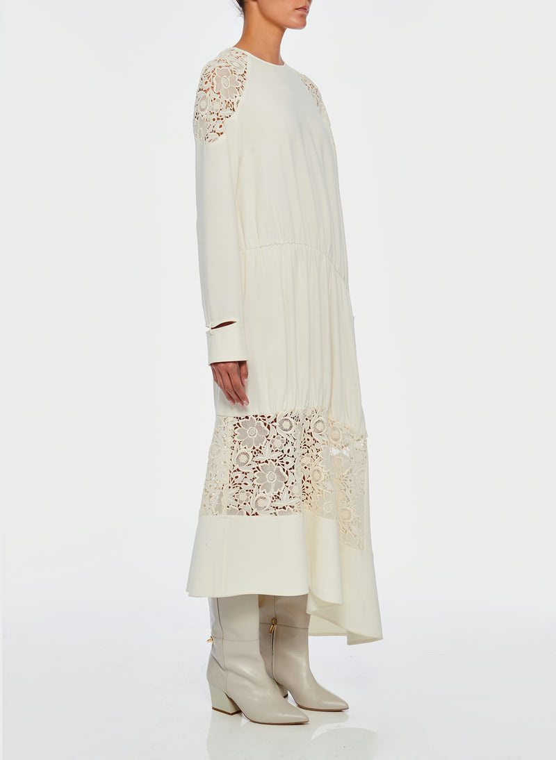 Guipure Lace Long Sleeve Dress Ivory-10